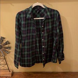 Gap green plaid shirt